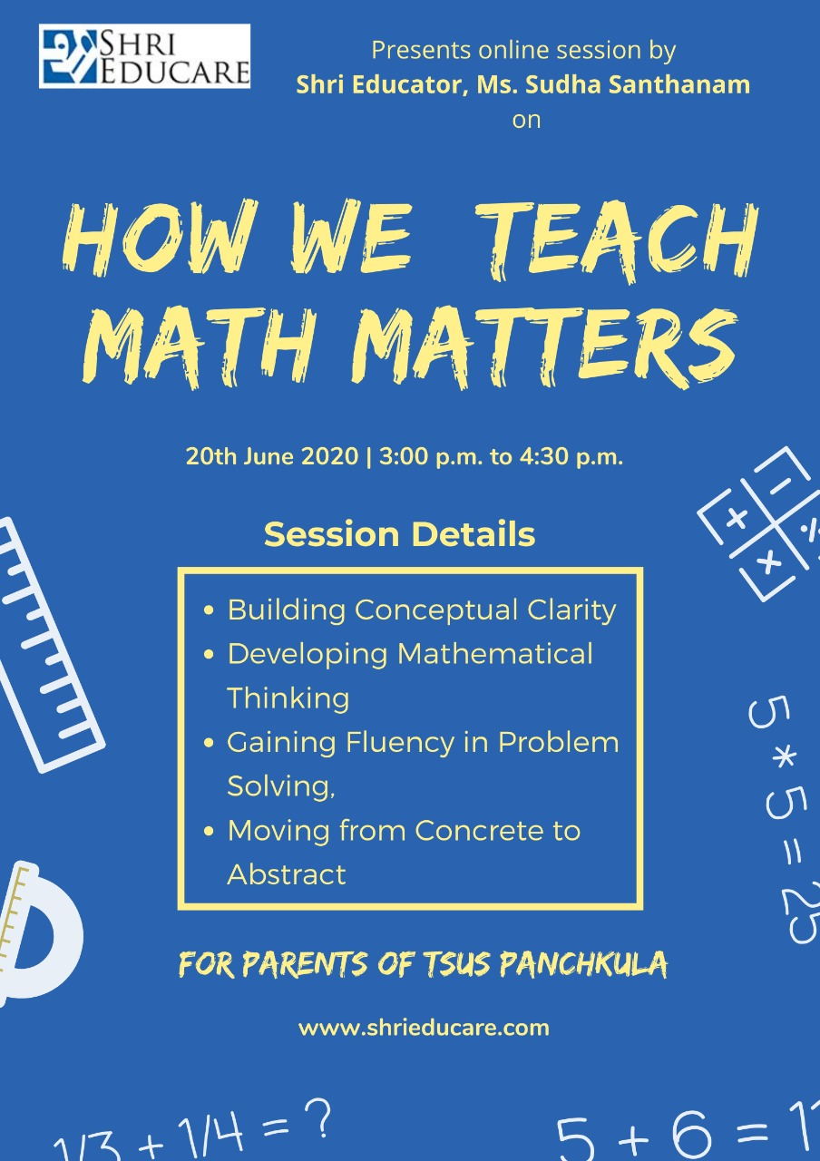 Online session on how we teach math matters